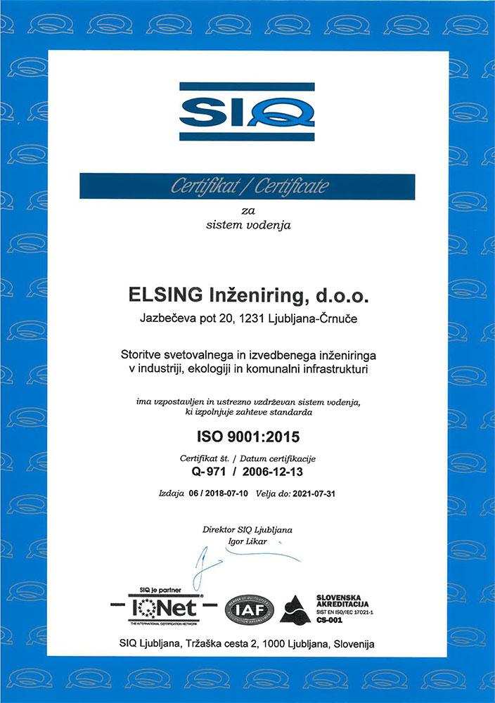 Prehod certifikata na ISO 9001:2015 ISO 9001 2015
