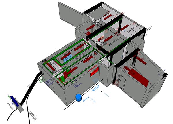 Komplet inštalacije ene etaže manjšega javnega poslovnega objekta