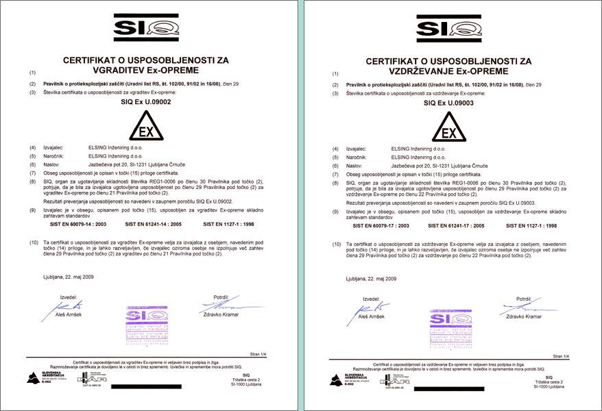 Podjetje Elsing Inženiring d.o.o. pridobilo certifikat o usposobljenosti za vgraditev in vzdrževanje Ex-opreme certifikat
