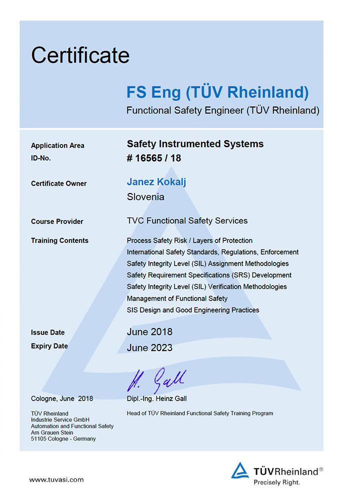 Uvajanje funkcijske varnosti v projekte procesne industrije certifikat tuv