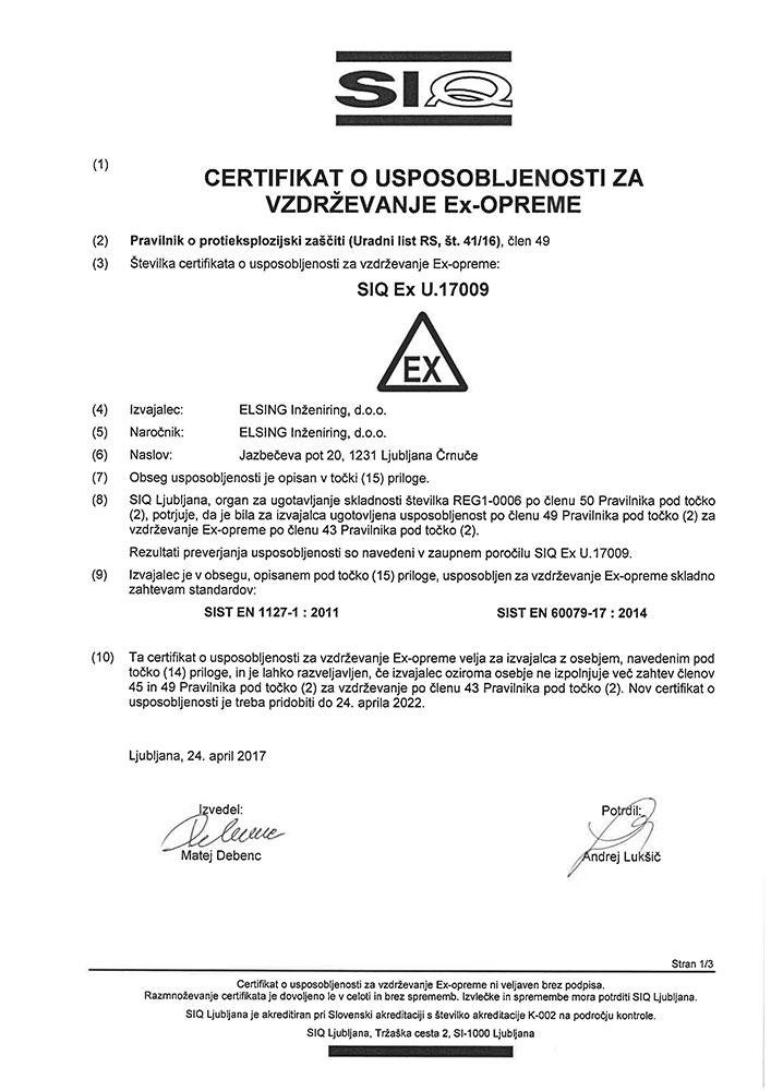 Obnovitev certifikata ISO 9001 in Ex vzdrzevanje ex opreme